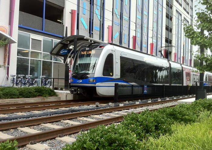 CATS LYNX light rail train at 7th Street Station in Charlotte, NC