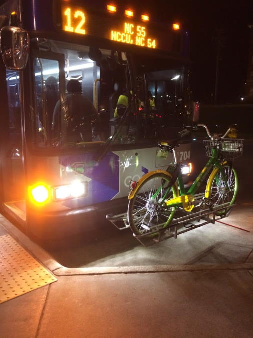 GoDurham route 12 bus with bike on front