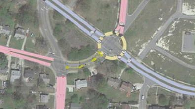 drawing of traffic roundabout