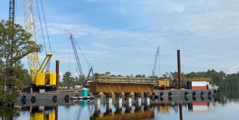 Bridge construction on the Perquimans River in Hertford