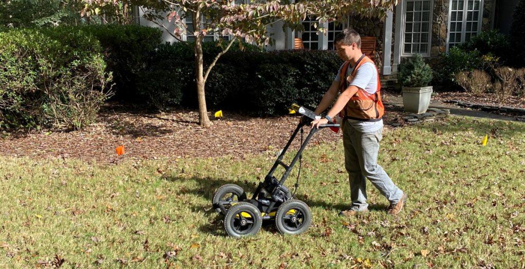 Soils scientist using Ground Penetrating Radar