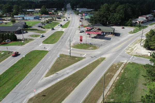 drone view of intersection